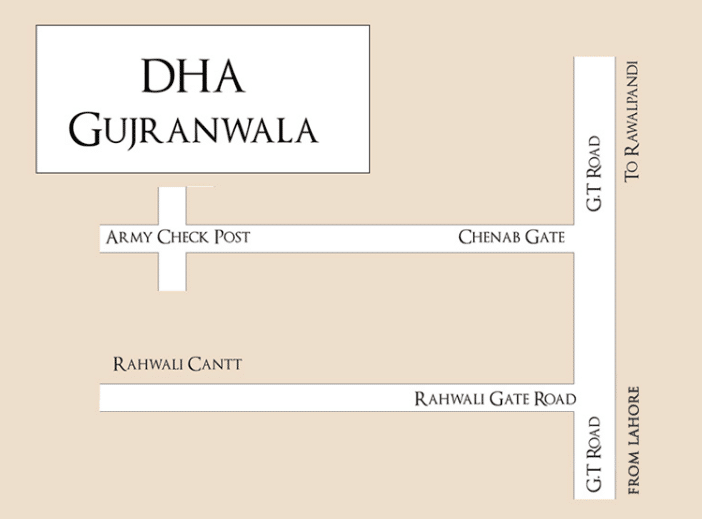 DHA Gujranwala location map
